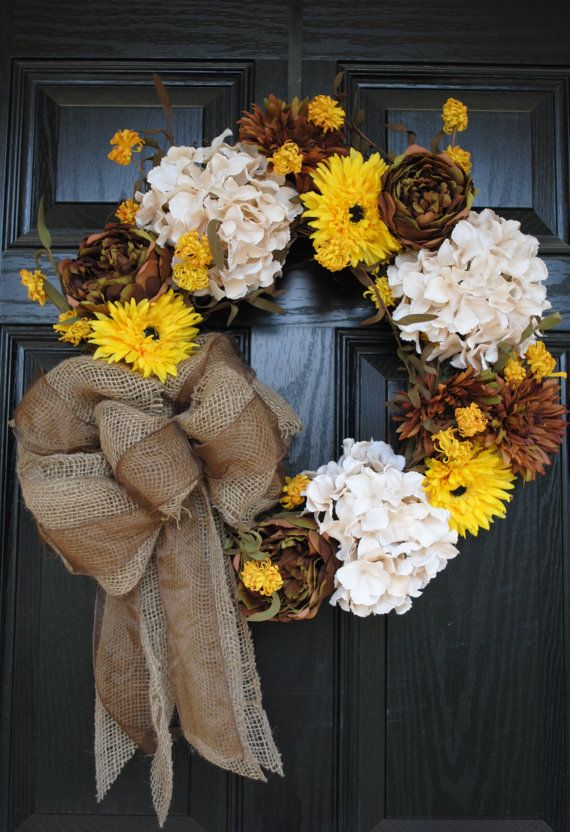 Brown Yellow and Cream wreath with burlap and brown bow