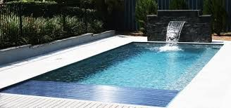 Image result for rectangle fiberglass pool with water feature