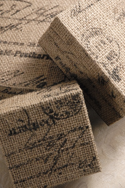 stenciled burlap covered boxes