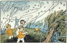 Children outside on a windy day Gorgeous free illustrations