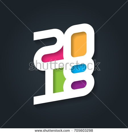 Happy New Year 2018. Vector greeting card. Cover of business diary for 2018. Vector brochure design template.