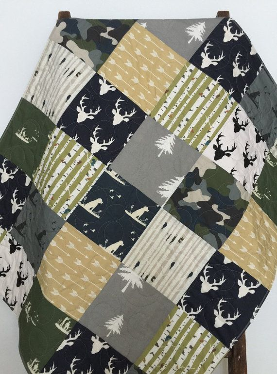 Baby Quilt Boy Woodland Dogs Ducks Moose Deer Guns by CoolSpool trendy family must haves for the entire family ready to ship! Free shipping over $50. Top brands and stylish products