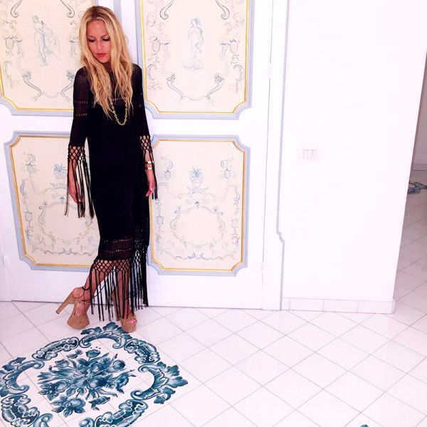 Rachel Zoe wearing our dream fringe Rachel Zoe dress in Italy
