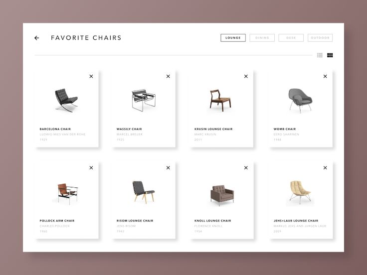 Day #044 of Daily UI.  Example of favorites section, in this case chairs.  Feedback is always welcome, and feel free to press 'L' if you like it!