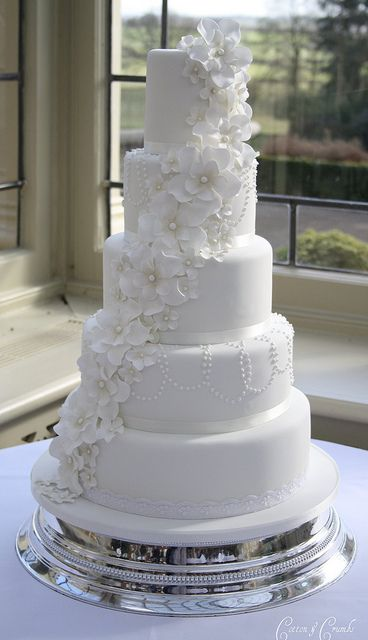 5 Tier Petal Flower Cascade Wedding Cake By Cotton And Crumbs Very Pretty