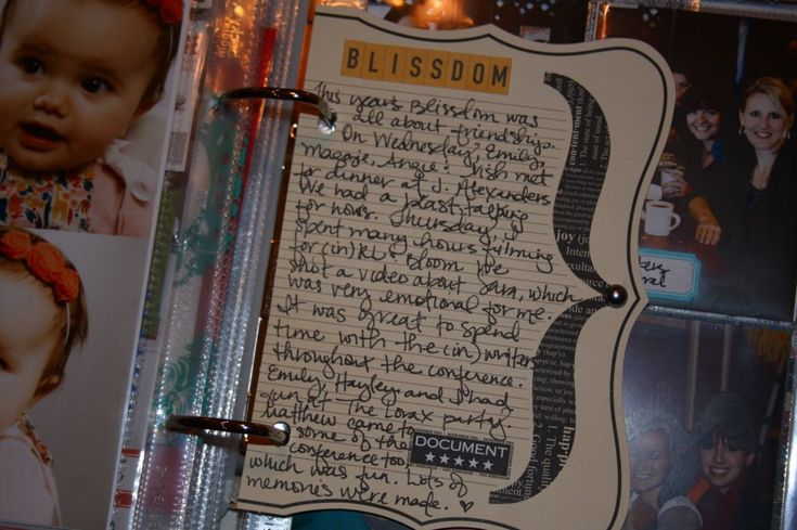 Great idea. Just journal on a cardstck block and put it in. Perfect. From The Mom creative.Scrap Projectlife