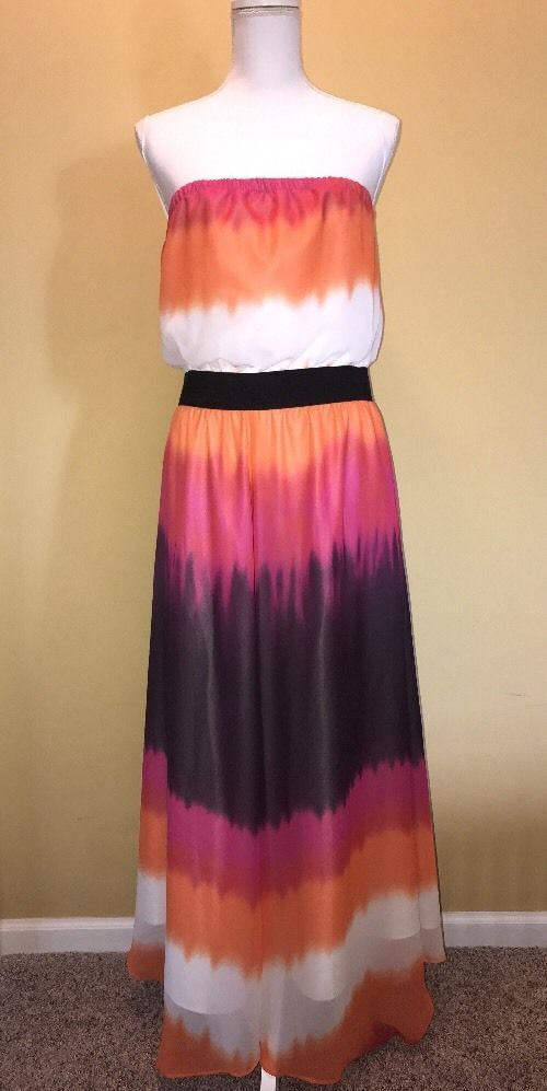 EXPRESS Women Sun Dress Large Lined Strapless Maxi Sunset Summer Beach Vacation  | eBay