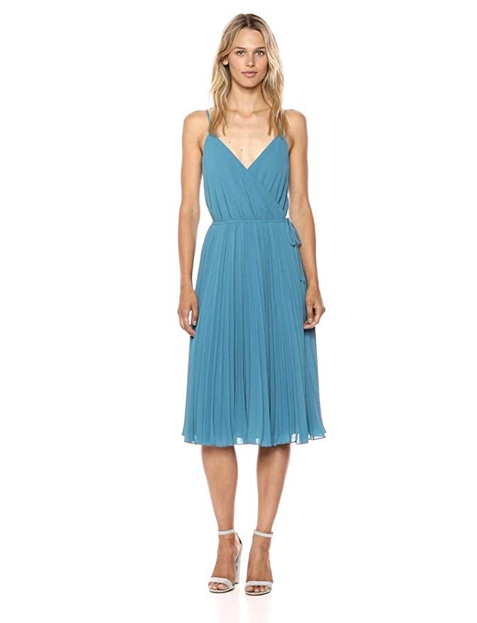 Women's Wrap Top Pleated Fit and Flare Sleeveless Dress