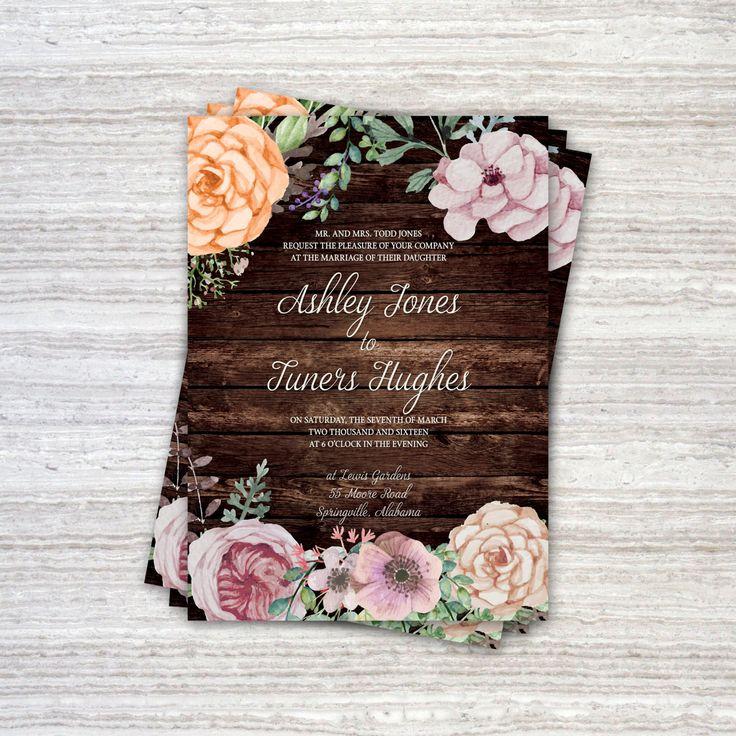 diy cd wedding invitations%0A Printable Wedding Invitation Set  Customizable Floral Wedding Invitation  with wood DIY Printable Invite