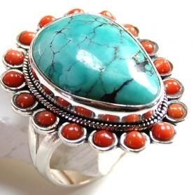 Turquoise Gemstone Ring With 925 Sterling Silver