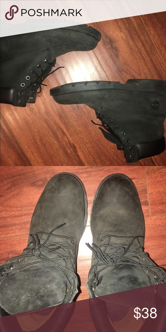 ALL BLACK TIMBERLANDS BOOTS ALL BLACK TIMBERLAND USED GOOD CONDITION Timberland Shoes Boots