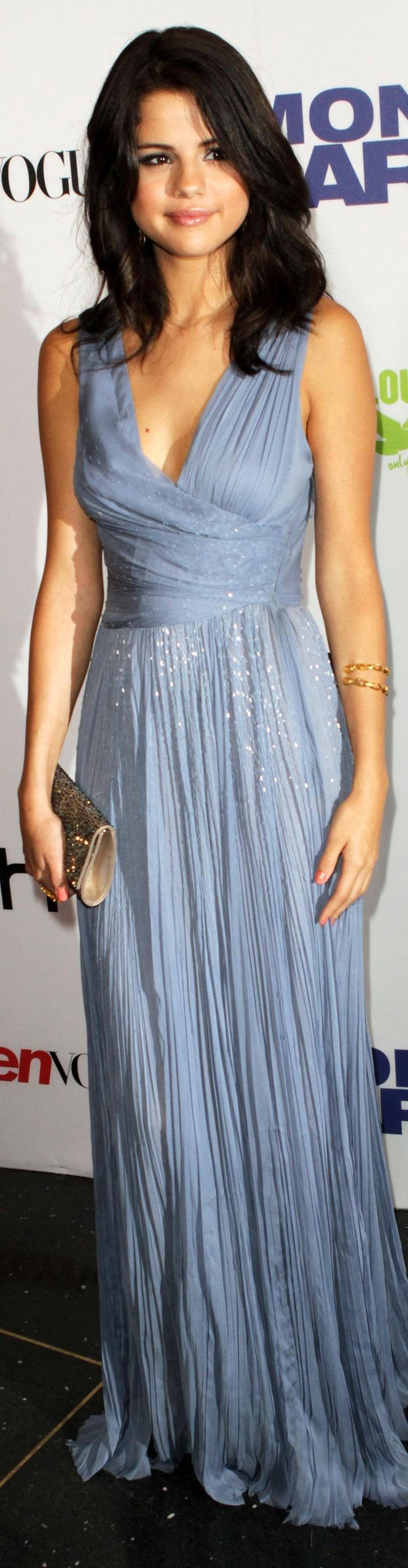Selena Gomez long dress #blue #formal #elegant