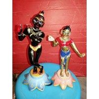 Radha-Krishna Deities, First Class, Brass. Handcrafted in Vrindavana, India., measured from the bottom of the base to the top of the head. Available with outfits complete with Krishna's flute, crowns & jewelry. If you would like deity hair/wigs, please purchase them separately buy.   Religious Devotional Products Gaur Nitai Brass Deity Set, Murti Iskcon Deity Gaur Nitai Statues Radha Krishna Brass Deity, Mathura-Vrindavan Store