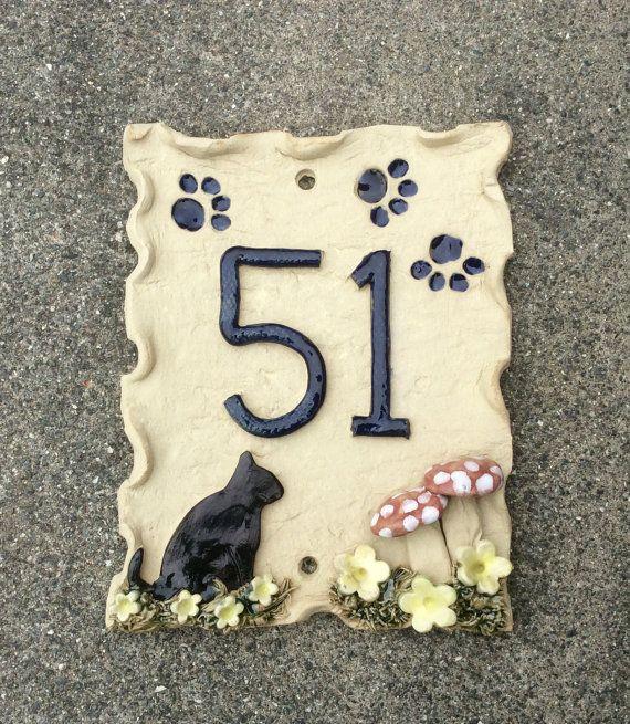 Numero civico, ceramica porta numeri, numeri di porta del gatto