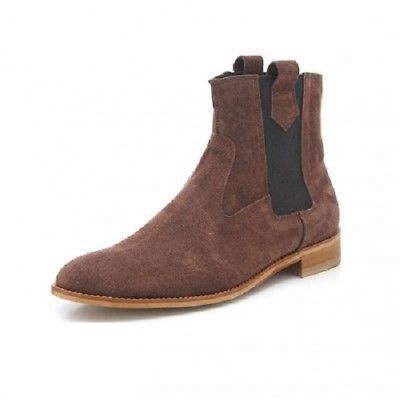 Handmade Men Brown Suede Chelsea Boots, Men Ankle Leather Boots, Men Boots - Boots