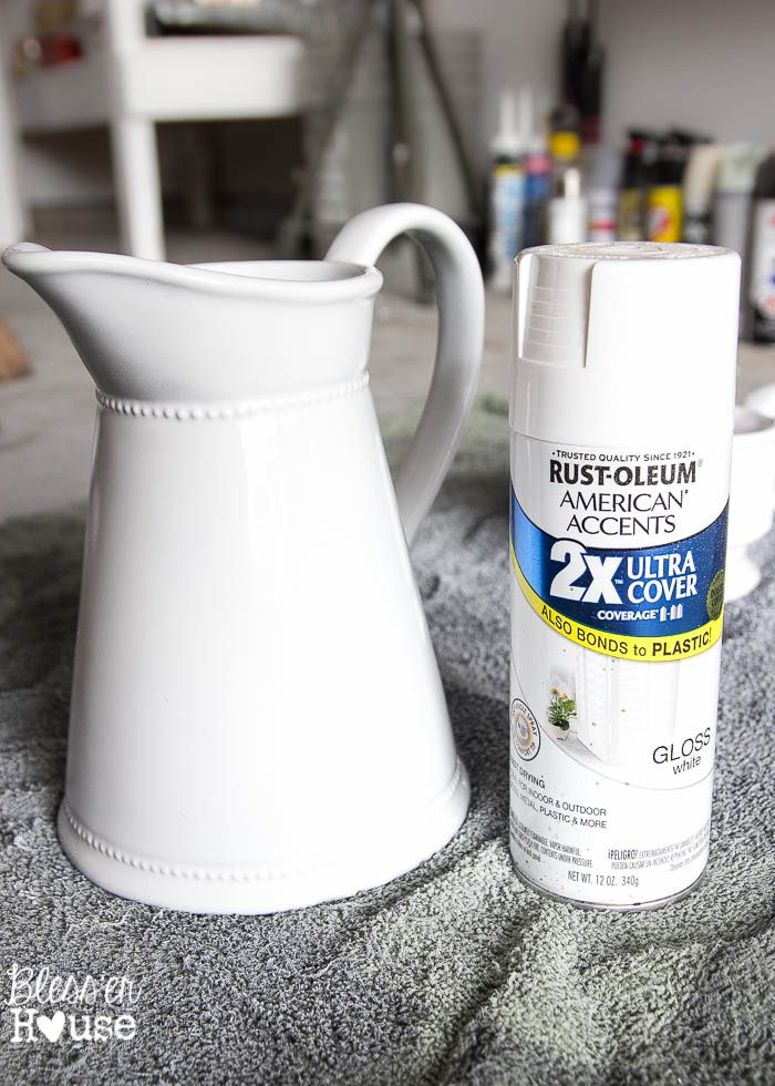 How to Fake Ironstone from Thrift Store Finds with spray paint | blesserhouse.com