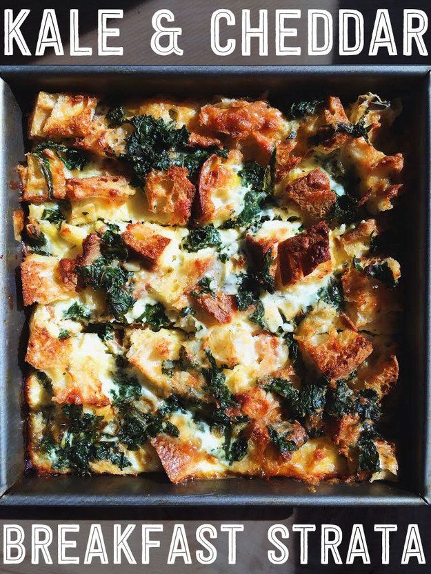 Kale & Cheddar Brunch Strata. Put together this delicious kale and cheddar strata on Saturday night, then wake and bake on Sunday.