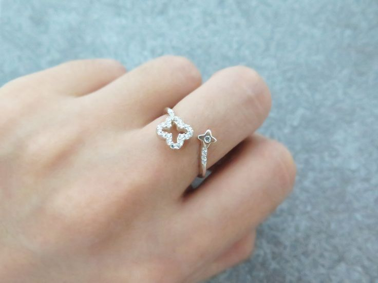 Clover ring/Adjustable ring/Sterling silver open ring/Silver ring/Stackable…