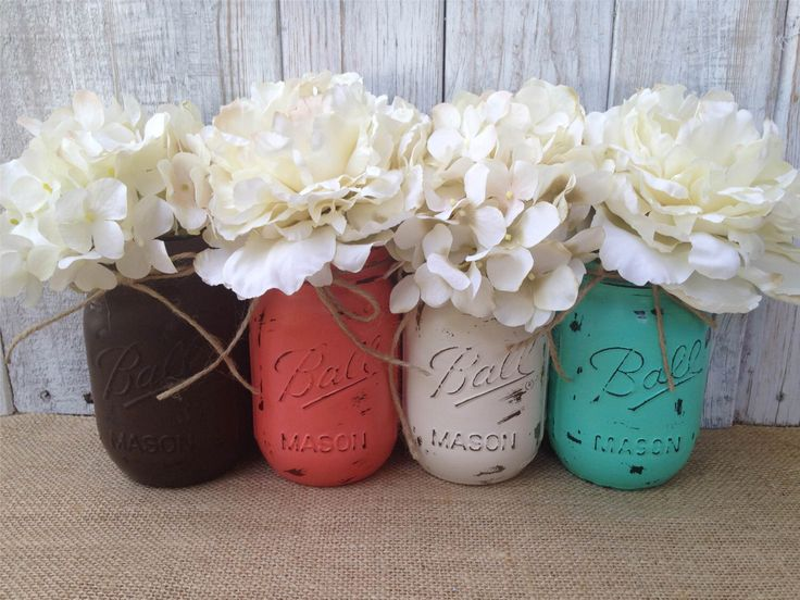 Pint Mason Jars,Brown Coral Teal Cream,Painted Mason Jars,Rustic Wedding Centerpieces,Baby Shower Decoration,Flower Vases,Rustic Home Decor by LacyBellesBoutique on Etsy https://www.etsy.com/listing/197898268/pint-mason-jarsbrown-coral-teal