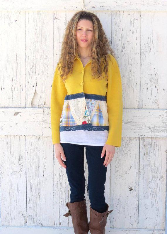 Upcycled Pullover Womens Cardigan Größe M Senf gelb Boho Patchwork, Gold-Indie-Mode, weiterführte Bekleidung funky, von wearlovenow