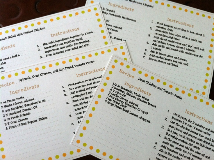 98 Best Recipe Card Templates Images On Pinterest | Printable