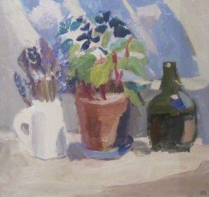 Julian Bailey Moroccan pots, geraniums & herbs