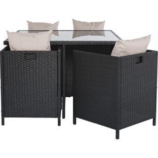 buy rattan effect 4 seater cube patio set black at argoscouk