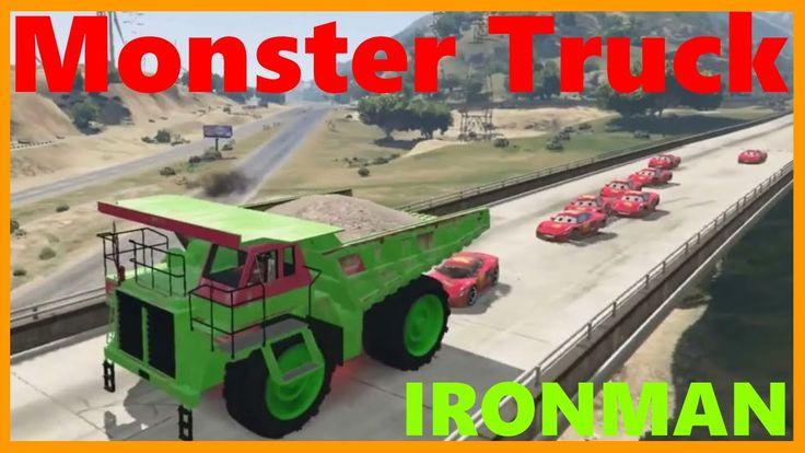 MONSTER TRUCK! Iron Man and Lightning McQueen with Big Green Truck ♥ Nur...