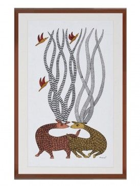 Multi-Color Framed Gond Wall Art 25in x 16in