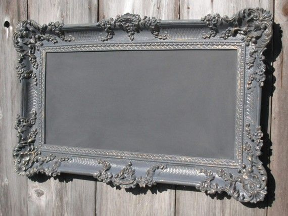 ORNATE BAROQUE CHALKBOARD The  Renaissance Old World Style Collection Restaurant French Country Revived Vintage Chalkboard 36inx21in Pewter Gold Grey Menu Board  Seating Chart Wedding Modern