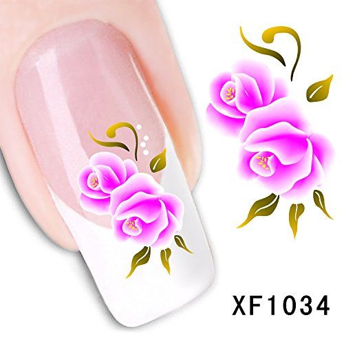 Dalin 3D Nail Art Tips Stickers False Flower Nail Design Manicure Decals Nail Art Water Nail Art Decal  Tattoo  Sticker XF1034 *** Visit the image link more details.