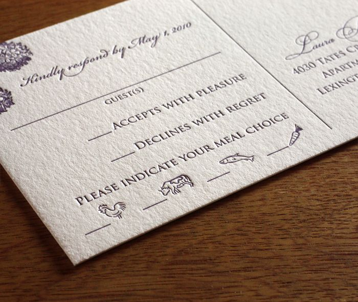 wedding response card with food choices on it