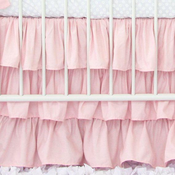 Three tiered Light Pink Ruffle Crib Skirt | Baby Pink Bedding | Ruffle Baby Bedding | Sweet, Pastel, Pink, ruffled Baby Girl Crib Skirt
