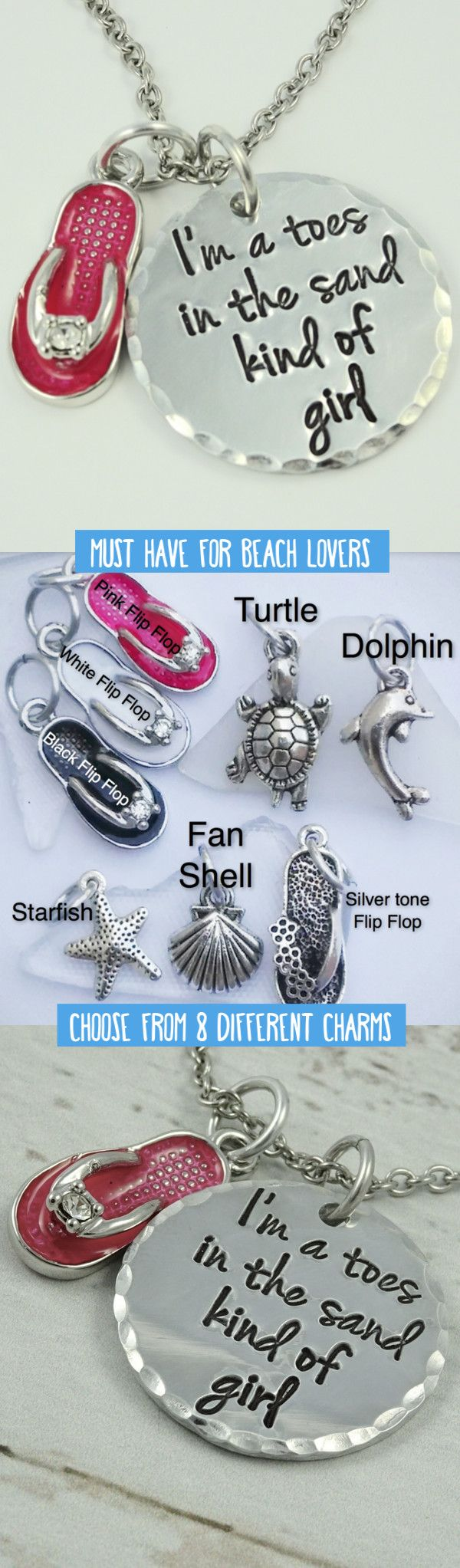 Are you a toes in the sand kind of beach girl? Wear this necklace to show your love for the sand, beach, and ocean! Includes your choice of charm: Fan Shell, Silver Flip Flop, Starfish, Turtle, Dolphin, Pink Flip Flop, Black Flip Flop, or White Flip Flop.