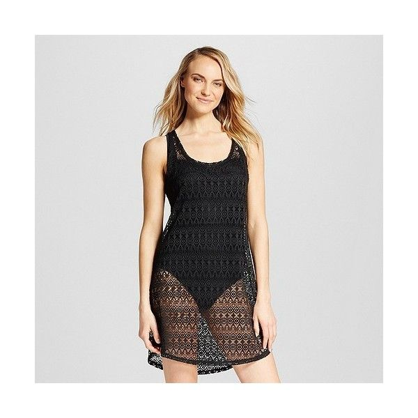 Women's Crochet Tank Cover Up Dress ($20) ❤ liked on Polyvore featuring swimwear, cover-ups, black, bathing suit cover ups, swim cover ups, crochet swim cover up, sheer swimsuit cover ups and swimming cover ups