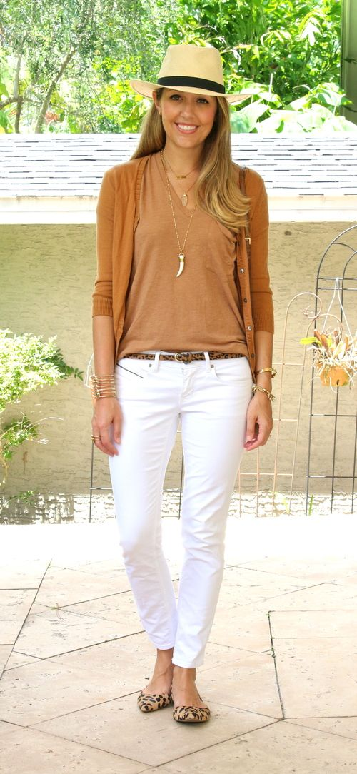 Burnt orange cardigan and tee with white jeans and leopard accessories