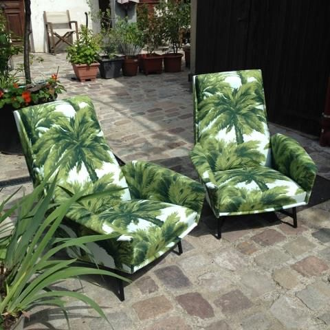 "Merci Le Bon Marché Rive Gauche for these great vintage chairs in the ""Mauritius"" fabric ! More to come in September Merci @gilbertkhan&@perrinebertinlefort!"
