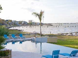 Kemah Beach - Galveston Bay with Kemah Boardwalk in background
