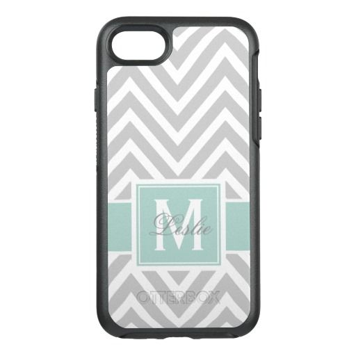 MINT GREEN, GRAY CHEVRON PATTERN OtterBox SYMMETRY iPhone 7 CASE