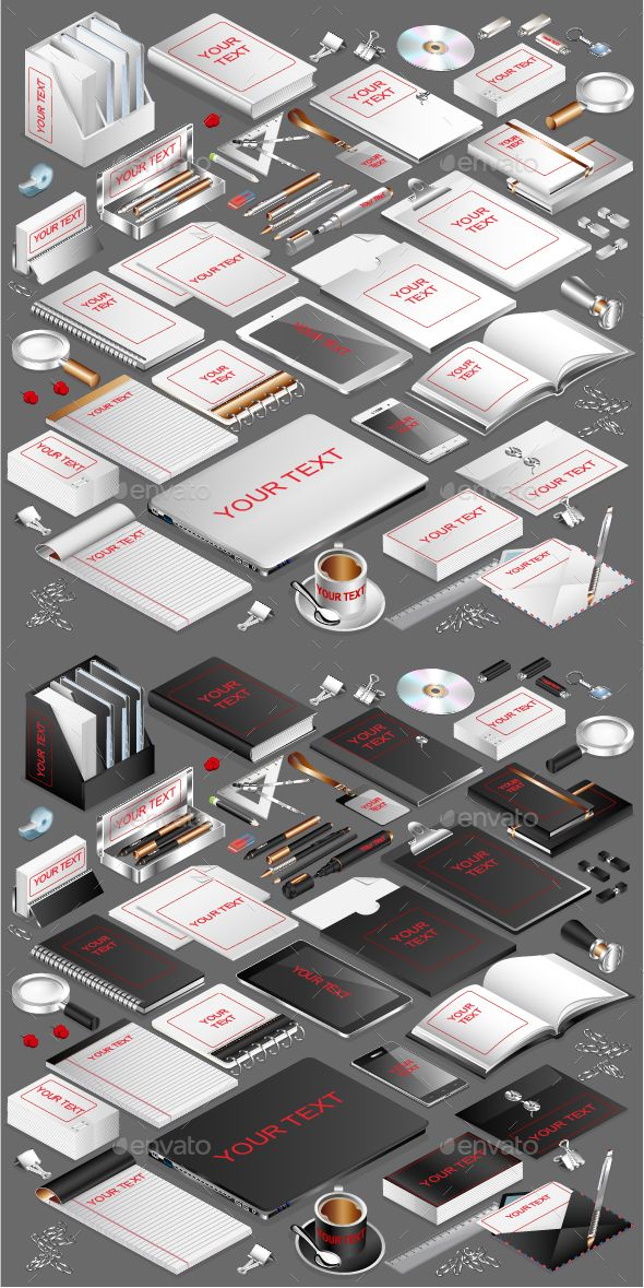 Isometric Corporate Stationery Template