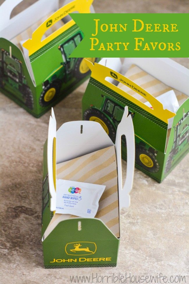John Deere party favors for a 3 year old's birthday party.  #showusyourmess #pmedia #ad
