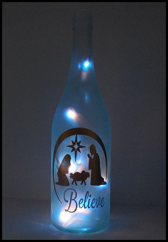 Lighted Bottle Nativity Christmas Scene Hand by LightedBottle