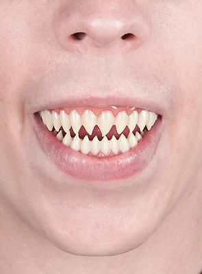 I'll try and find or make fake sharks teeth. This will make her look scary and more like a nightmare.