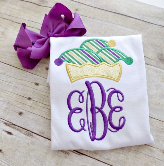 Girls Mardi Gras Shirt,Toddlers Mardi Gras Shirt,Infants Mardi Gras , Mardi Gras Monogram,Jester Hat, Mardi Gras,Embroidered,Appliqued