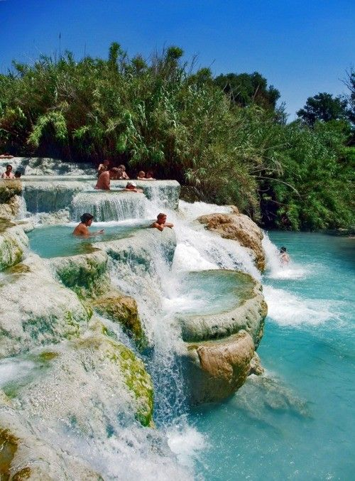 Saturnia, Tuscany, Italy~ The Terme di Saturnia -One legend, according to the Etruscans and Romans, was that the Terme di Saturnia were formed by lightning bolts, thrown by Jupiter. During a violent quarrel between the two mythological deities, the bolts thrown towards Saturn had missed, causing the formations.