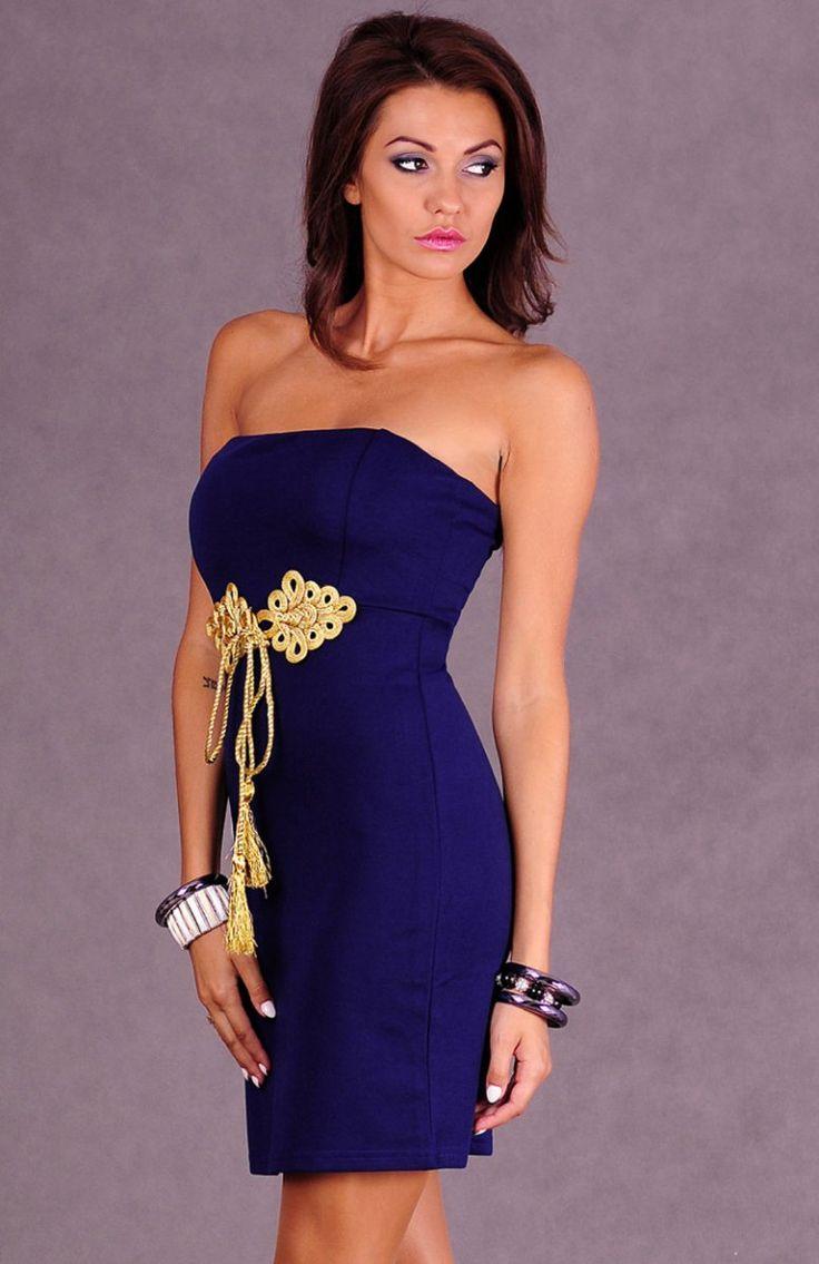 Emamoda Sante sukienka granatowa Prosta sukienka damska zakładana na biuście. Sztywne miseczki. Zapinana na zamek.