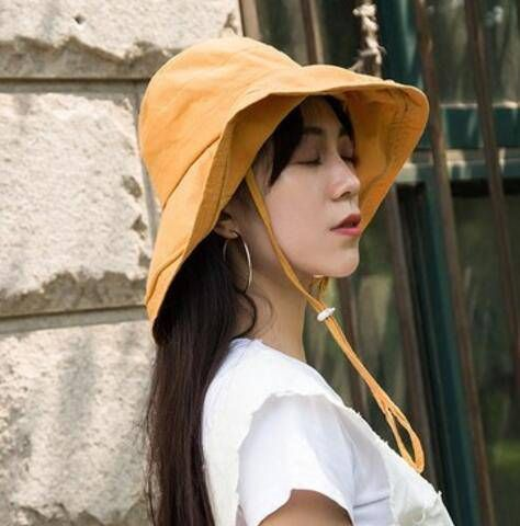 Plain wide brim bucket hat with string for ladies uv protection effect cotton on hats