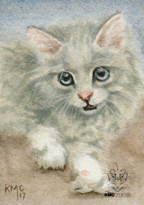 KMCoriginals Cat Kitten cute cuddly fluffy big blue eyes original ACEO NFAC art #Realism