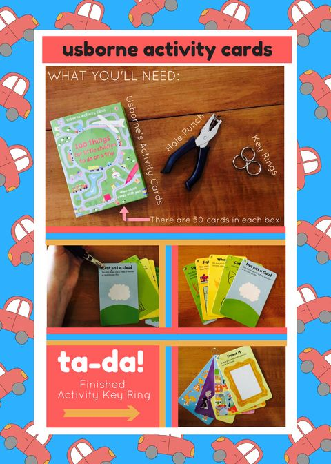 """This is a super simple idea you can use to make car trips a little more fun for your kiddos! This little activity card ring is made using Usborne Books & More's """"100 Things for Little Children to do on a Car Trip"""" Activity Cards- there are 50 wipe-clean cards in the box with 100 activities to do for only $9.99! Did I mention that it comes with a dry-erase pen?! So much fun! Check them out here: e6365.myubam.com"""