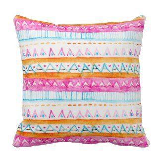 Aztec tribal watercolor pattern pink blue paint pillow